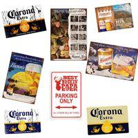 Wholesale beer board resale online - Retro Corona Beer Metal Tin Sign Plaque European Style Rectangle Beverage Board Wall Poster