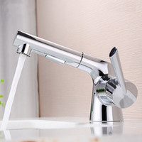 Wholesale square sink faucet - brass copper bathroom Chrome Brass Pull Out Basin Faucet Square hot and cold water Mixer Lead-free Bathroom copper Basin Sink tap BF887