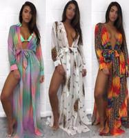 Wholesale maxi long dress leopard print - Deep V split Beach Maxi Dresses Sexy Boho Long sleeves Leopard floral print Women Swimsuit bikini blouse skirt wholesale-2018