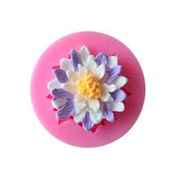 moldes de pastel de silicona en forma de flor al por mayor-Diy molde de gel de sílice fondant cake flores forma de silicona molde seguro para hornear herramientas no tóxicas rosa 2 3dy B