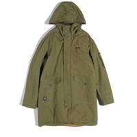 abrigo verde para hombre al por mayor-Abrigo de invierno grueso ejército verde largo con capucha abrigos para hombre flojo informal Invierno largo chaquetas bomber Abrigos