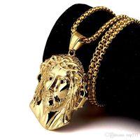 Wholesale Head Piece Chain Jewelry Gold - 2018 I New Fashion Head Of Jesus Pendant Necklace Titanium Steel Jesus Piece Trendy Punk Vintage Hip Hop Jewelry