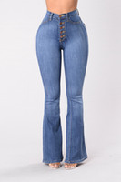 knopf hohe taille jeans großhandel-Bell Bottom Frauen Jeans Hohe Taille Skinny Denim Jeans Hintern Heben Knopf Fly Full Length Flare Pants