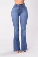jeans de botão para mulheres venda por atacado-Bell Bottom Mulheres Jeans Cintura Alta Skinny Denim Jeans Butt Levantamento Botão Fly Comprimento Total Calças Flare