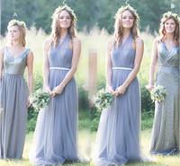 gri tül zemin uzunluğu elbise toptan satış-Halter Tül Kat Uzunluk Gelinlik Modelleri Pileli Sequins Gri Düğün Parti Elbise V Boyun Şifon Uzun Gelinlik Modelleri
