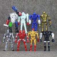 ingrosso figure di acciaio reale-Eco-Friendly 11-13 cm 8 pz / lotto Vero acciaio Figure in PVC Giocattoli di azione Collezione modello Bambola Regali per bambini Bambola giocattolo con luce