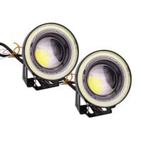 cob führte halo großhandel-LOONFUNG LF89 2 stücke Universal Wasserdichte LED Nebelscheinwerfer Mit Objektiv Halo Angel Eyes Ringe COB