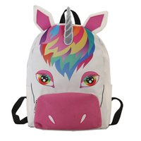 Wholesale girls new designer bag for sale - Group buy New Personality Designer Unicorn Backpack Girl Color Collision Spray Drawing Knapsack Lovely Cartoon Animal Student Bag Hot Sale hc Ww