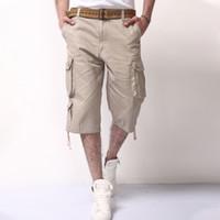 2018 New Mens Summer Army Cargo 3 4 Three Quarter Pants Cotton Multi Pockets Tactical Camo Casual Men Jogger Short