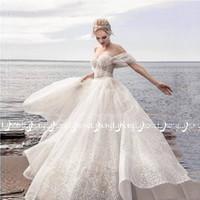 Wholesale romantic corset wedding dresses online - Crystal Sequins Corset Off Shoulder Wedding Dress Vestido de novia Romantic Lace up Bridal Formal Maxi Gowns Brides Custom Made Long Dresses