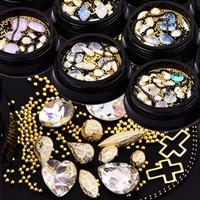 ingrosso chiodi neri art-Nail art decorazione forma mista oro cristallo trapano nero catena di proteine diamante metallo croce sfera in acciaio DIY chiodo strass BZ036