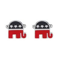 Wholesale fashion elephant - New Fashion Republican Elephant Enamel Cufflinks High Quality Wedding Cuff Links For Men Discount Cufflinks Hot Sales zj-0903935