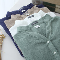 ingrosso camicie di lino estivo-2017 estate traspirante protezione solare giapponese allentato fresco confortevole cotone manica di lino femminile camicia di colletto di lino camicetta mujers