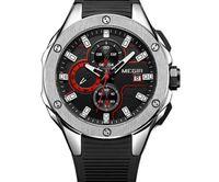 schwarze armbänder der männer großhandel-2018 megir herren chronograph sport runde analog quarz armbanduhren datumsanzeige silikon armband armband 2053g blau schwarz