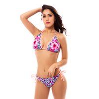 pembe leopar mayo toptan satış-Kadınlar Seksi Çiçek Baskı Bikini Setleri 2018 Yaz Tatil Dantel Plaj Mayo Hollow Pembe Mavi Leopar Kadın Mayo