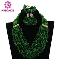 Wholesale african coral beads necklace sets - Latest Nigerian Coral Beads Necklace Set For Wedding Green African Costume Jewelry Set Bridal Gift Jewelry CJ527