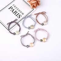 schmetterlingsseil großhandel-Koreanisch mode haarschmuck frauen blume perlen kristall perlen haar seil schmetterling verknotet zweifarbiges band gummiband