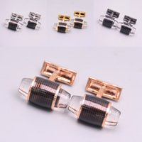 Wholesale Mens White Wedding Shirts - Hot Sale Brand Man Shirt Cufflinks For Groomsman Crystal Cuff Button mb With Fashion Mens Wed Cufflink Gifts