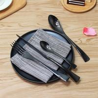 wholesales for cutlery Canada - Wholesale Elegant Black Cutlery Stainless Steel Flatware Set Tableware Dinnerware Knife Spoon Fork Teaspoon for Wedding Party