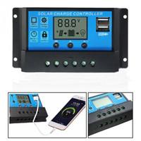 panel solar batería de carga 12v al por mayor-10A / 20A / 30A 12V / 24V LCD controlador de carga solar con temporizador de regulador automático para panel solar Protección de sobrecarga de batería Baterías de plomo