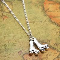 Wholesale skating pendants - 12pcs lot Roller Skate necklace Charm pendant Roller Derby Jewelry Roller Skating Gift