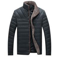 Wholesale leather sleeve parka for sale - Group buy Parka Men Winter Jacket Men Coat Slim Casual Cotton Padded Hombre Faux Leather Parka Mens Coats Jackets Warm Plus Velvet Thick Outwear