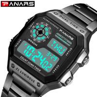 часы двойные цифровые часы оптовых-PANARS Fitness Sport Watch Men Digital Wrist Watch for Mens Dual Time Chronograph Clock 12/24 Hours Stainless Steel Watches 8113