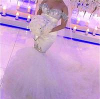 vestido de noiva sparkly tulle sereia venda por atacado-Cristais Sereia Vestidos de Casamento Fora Do Ombro Manga Curta Pedrinhas Beadings Cetim Tulle Vestidos de Noiva Brilhante Custom Made