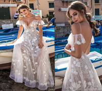 Wholesale white short shoulder detail online - 2018 Berta Illusion Lace Garden Wedding Dresses Modest D Floral Off Shoulder Fariry Backless Outdoor Bridal Reception Wedding Gown