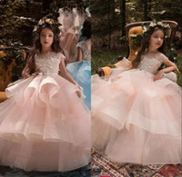 Wholesale ankle designer wedding dresses for sale - Designer Ball Gown Flower Girl Dresses Jewel Floor Length Tiered Kids Formal Dresses With Lace Applique For Wedding Party Pageant Gowns