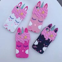 Wholesale wholesale 3d cell phone cases - 3D Unicorn Silicone Soft Case For Iphone X 8 7 Plus 6 6S Plus Smile Loverly Cute Cartoon Cell Phone Skin Cover Unicorn Animal Cute Patterned