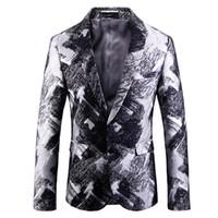 men long coat dressing 2018 - 2018 Autumn and Winter New Cotton Men Long Sleeve Printed Suit Jackets Fashion Business Banquet Party Men's Dress Coats Size 5XL