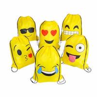 ingrosso zaini dei bambini gialli-Bambini Bambini Carino Emoji Con Coulisse Zaino Borse Emoticon Assortiti Bomboniere Giallo 12 Confezione da 6 tipi THINKTHENDO