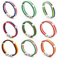 Wholesale bracelet charms for kids - Woven Bracelets for 2018 FIFA World Cup Unisex PU Leather Bracelet String Kids Adult Jewelry CCA9499 150pcs