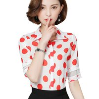 Wholesale ladies half sleeve chiffon tops - Women Polka Dot Hollow Out Half Sleeve Blouse Casual Red Dots Ladies Office Chiffon Shirt Loose Tops