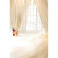 foto de la boda de fondo interior al por mayor-Ventana blanca rosa cortina interior de tela de vinilo boda niños fondos de fotografía para Photo Studio Photo contextos CM-4032
