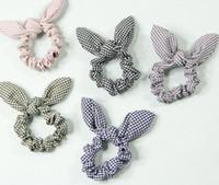 держатель для галстука для волос оптовых-Hot Sale plaid printed Cute rabbit ears bow women's hair Tie Hair Accessories Ponytail Holder New