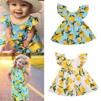 Wholesale Girls Tutu Skirts Patterns - Hot selling new 2017 summer girl dress fruit lemon pattern baby girl dress children summer dresses children fly sleeve tutu backless skirt B