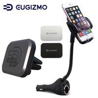 soporte para coche iphone usb al por mayor-Soporte para teléfono con soporte para teléfono para automóvil con cargador USB dual Soporte para cigarro Cuna + Soporte de ventilación magnética para iPhone Samsung Xiaomi, etc. Teléfonos celulares