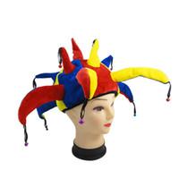 ingrosso campane di pagliaccio-Divertente cappello colorato di Halloween Party Clown con piccoli cappelli di carnevale Costume Cappelli Unisex Puntelli nuovi