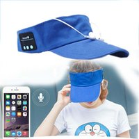 Wholesale iphone baseball - Wireless Sun Cap Bluetooth Earphones Baseball Sun Hat Music Headset Handsfree With Microphone For Most Phones Sports Adult Size