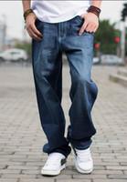 hip hop baggy pants boys toptan satış-Demin Hip Hop Kaykay Rahat Marka Erkekler Yağ Baggy Jeans Genç Erkek Kot Uzun Gevşek Fit Ağır Kot Erkek Düz Pantolon Artı Boyutu