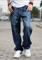 Wholesale heavy pants - Demin Hip Hop Skateboard Relaxed Brand Men Fat Baggy Jeans Teen Boys Jeans Long Loose Fit Heavy Jeans Mens Straight Pants Plus Size