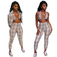 señoras vestidas con ropa al por mayor-Mujeres Chándal Casual Crop Tops + Bikini + Pants 3 piezas Set Chándales Otoño Sport Wear Ladies Female Outfit Clothing