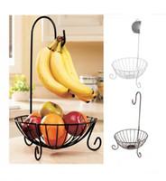 racks de rangement en fer achat en gros de-Panier de fruits en métal de cuisine de nouveauté avec support de stockage amovible pour bananes