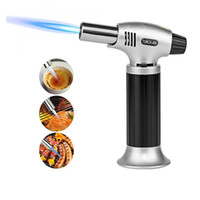 Wholesale black kitchens - 1300C Butane Scorch Torch Jet Flame Lighters Chef Cooking Refillable Adjustable Flame Lighter BBQ Ignition Spray Gun Picnic Tool WX9-646