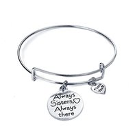Wholesale Female Friend - Sister Bracelet Always Sister Always There Love heart Women Family Female Best Friend Gifts Charm Chain Friendship 320031