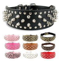 Wholesale Wholesale Wide Leather Dog Collar - 2 inch Wide Spiked Dog Collar Studded Pu Leather Dogs Collars for Pitbull Medium Large Breeds Dogs Black Pink Red
