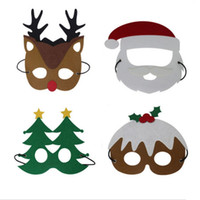 Wholesale masquerade party supplies for kids resale online - Cosplay party Mask Christmas Cartoon Kids Masquerade Hair Felt Masks Santa Claus Snowman Reindeer Eyeshade Supplies ry Hh