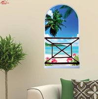 Wholesale 3d window art for wall - Sea High Quality D Wall Art Removable Wall Sticker Sailboat Sea Landscape Creative Window View Home Decor Rated based on custome